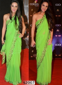 bollywood-actress-tara-sharma-border-work-parrot-green-georgette-designer-plain-saree-800x1100