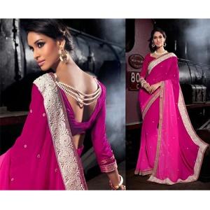 pearlwork saree